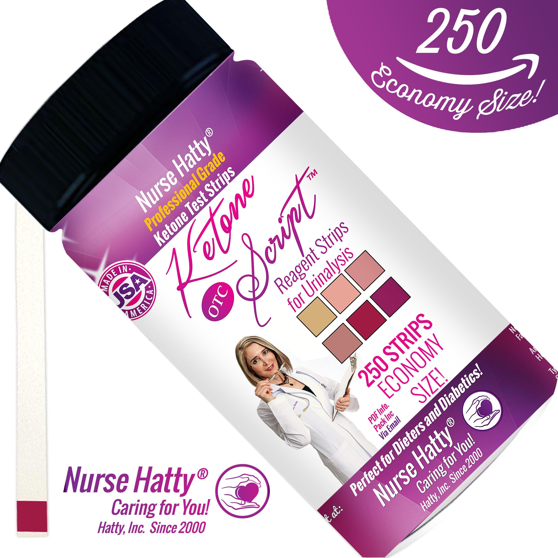 Nurse Hatty - 250ct. Ketone Strips (ECONOMY SIZE - LOOSE STRIPS) - Made in USA - Ketone Test Strips to Benefit Your Ketogenic, Paleo, Atkins & Diabetic Diets + Brand New BONUS PDF Edu. Pack