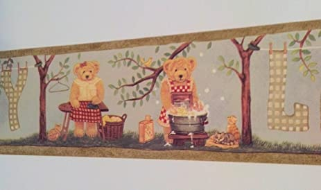 Wallpaper Border Country Teddy Bear with Cats Laundry Time Laundry