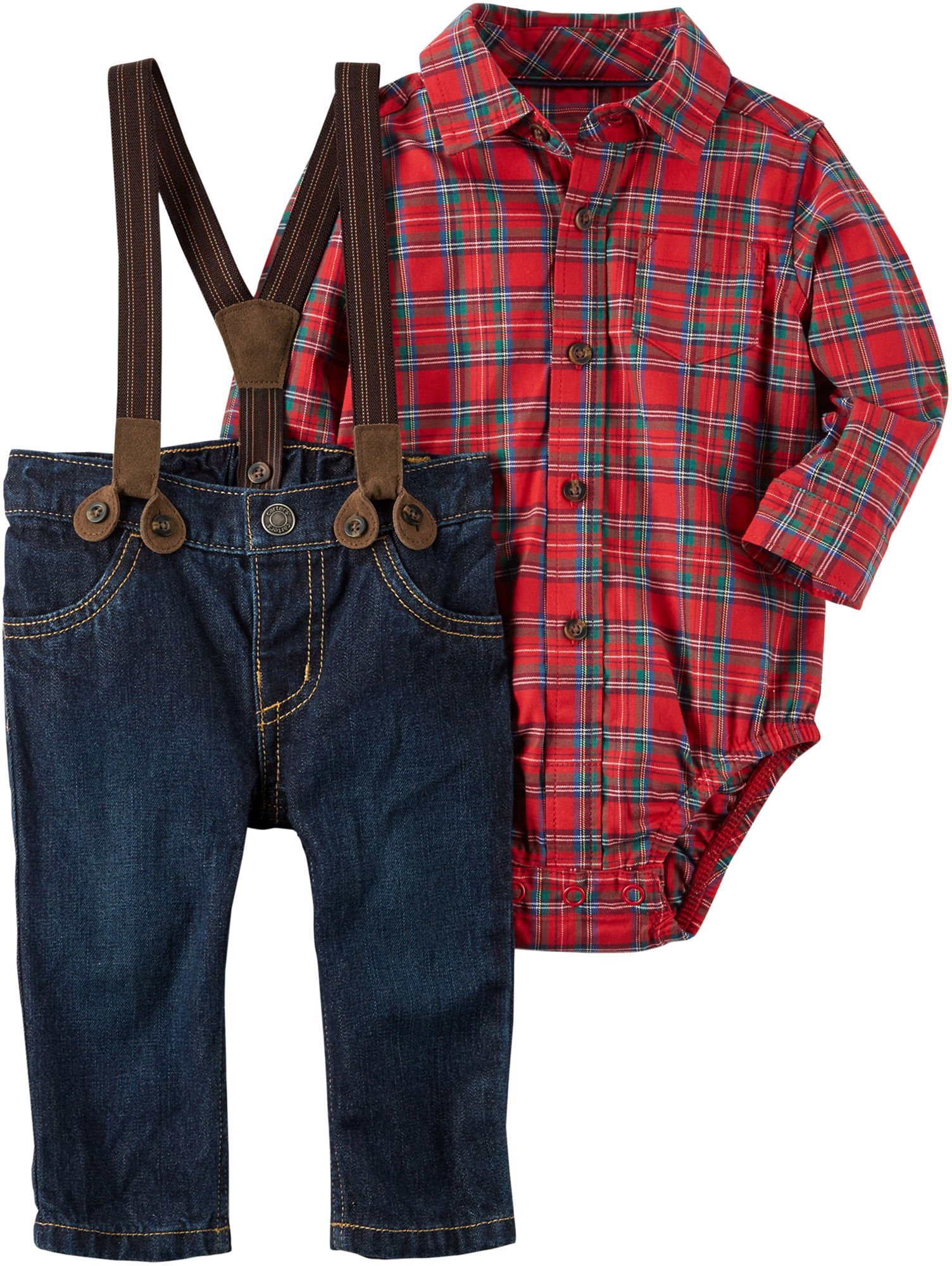 Carters Baby Boy Bodysuit Pant three piece set outfit red plaid 12 months NWT