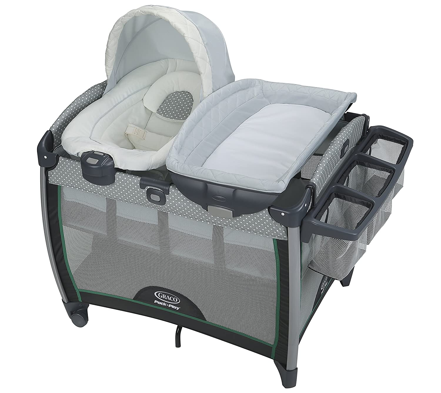 Graco Pack 'n Play Quick Connect Portable Lounger Deluxe with Bassinet, Darcie 2013962