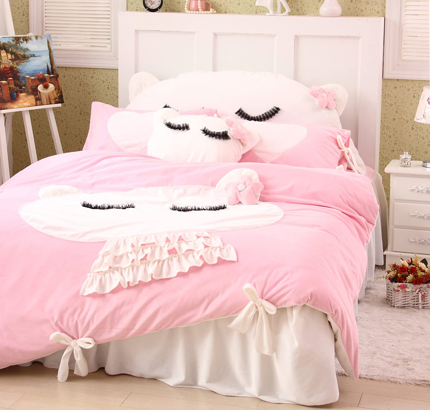 Amazon DIAIDI Home Textile Cute Cat Bedding Set Girls Polka Dot