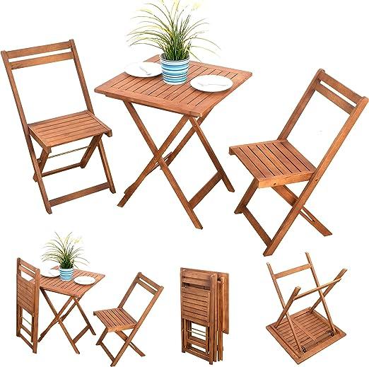 3 piezas Balcón Muebles Silla de jardín madera Balcón Set de mobiliario de muebles de jardín (Acacia barnizada – 2 x Silla plegable 1 x mesa plegable: Amazon.es: Jardín