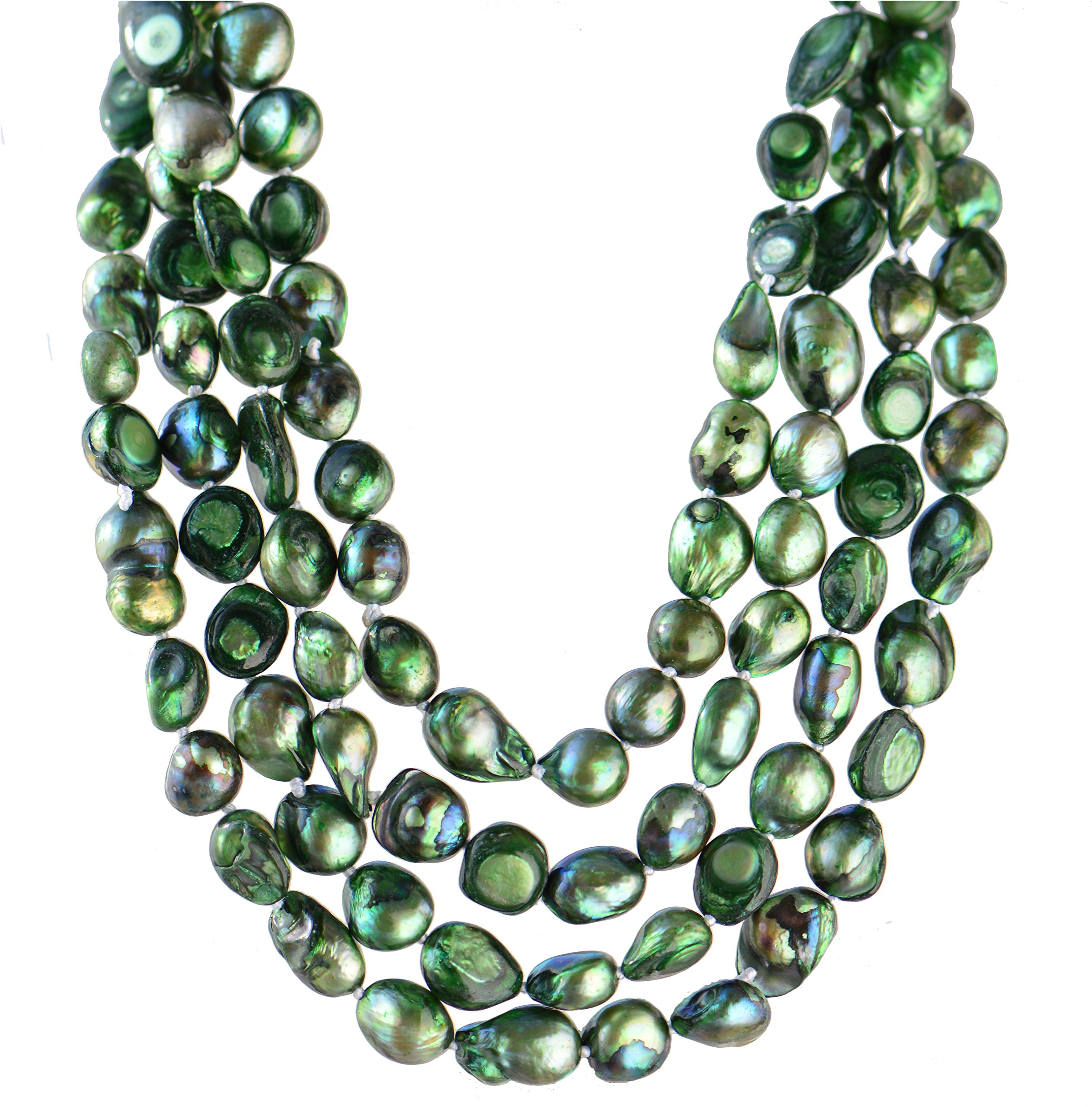 9-10mm Baroque Cultured Freshwater Pearl Necklace Strand Endless Palette Pure EMERALD 60''