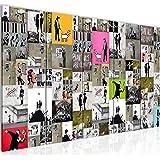 Quadro Collage Banksy Street Art Decorazione Murale 200 x 80 cm vello - Tela Decorazione da Parete Misura XXL Salotto Appartamento Decorazione Stampe Artistiche Multicolore A 5 pezzi - 100% MADE IN GERMANY - Pronte per l'applicazione 302755a