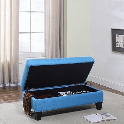 Divano Roma Furniture Classic Large Fabric Rectangular Storage Ottoman Bench Sky Blue