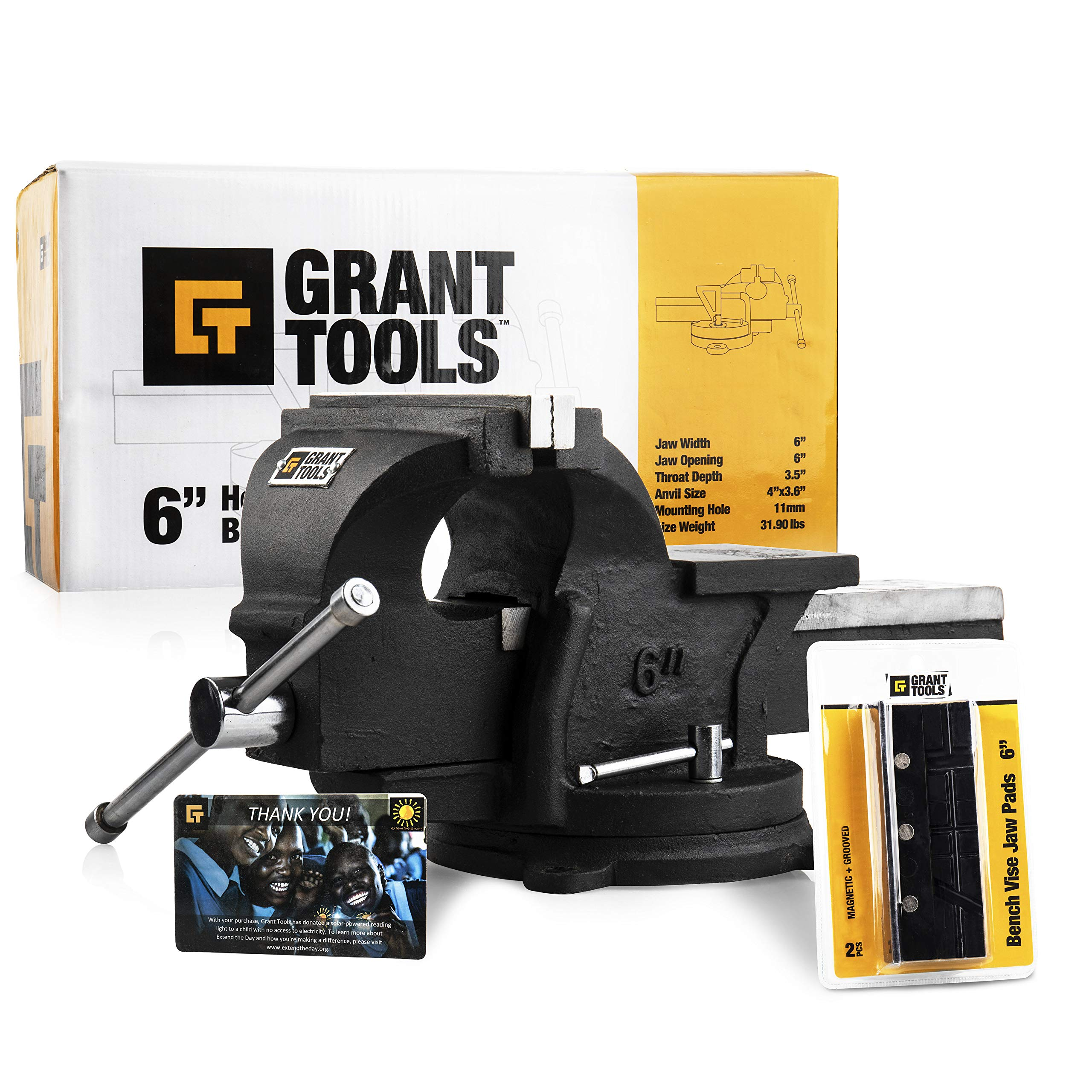 Grant Tools 4'' Heavy Duty Swivel Bench Vise | 2 Vise Jaws Included | With Each Vise Sold 1 Solar Light is Donated to a Child Abroad in Need via Extend The Day (4'') by Grant Tools
