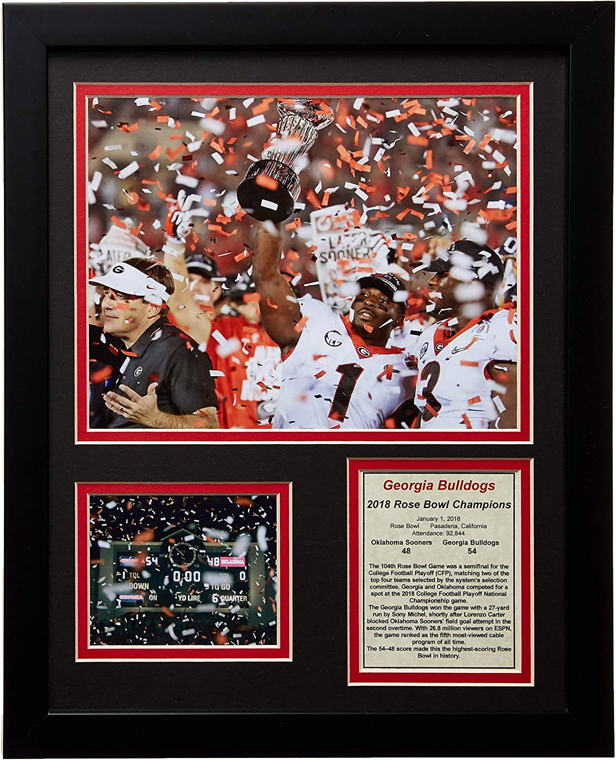 Legends Never Die UGA Georgia Bulldogs Rose Bowl Champions 2018 Collectible | Framed Photo Collage Wall Art Décor - 12