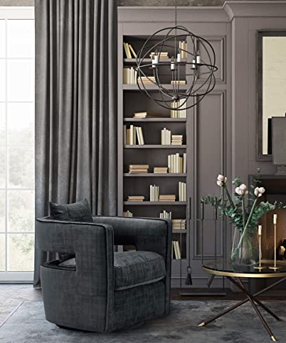TOV Furniture The Kennedy Collection Modern Swivel Accent Chair, Black