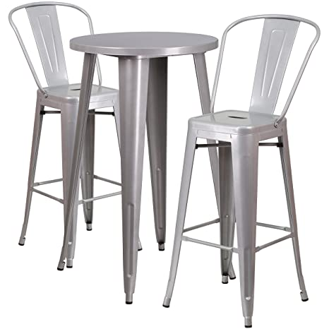 Admirable Flash Furniture 24 Round Silver Metal Indoor Outdoor Bar Table Set With 2 Cafe Stools Forskolin Free Trial Chair Design Images Forskolin Free Trialorg