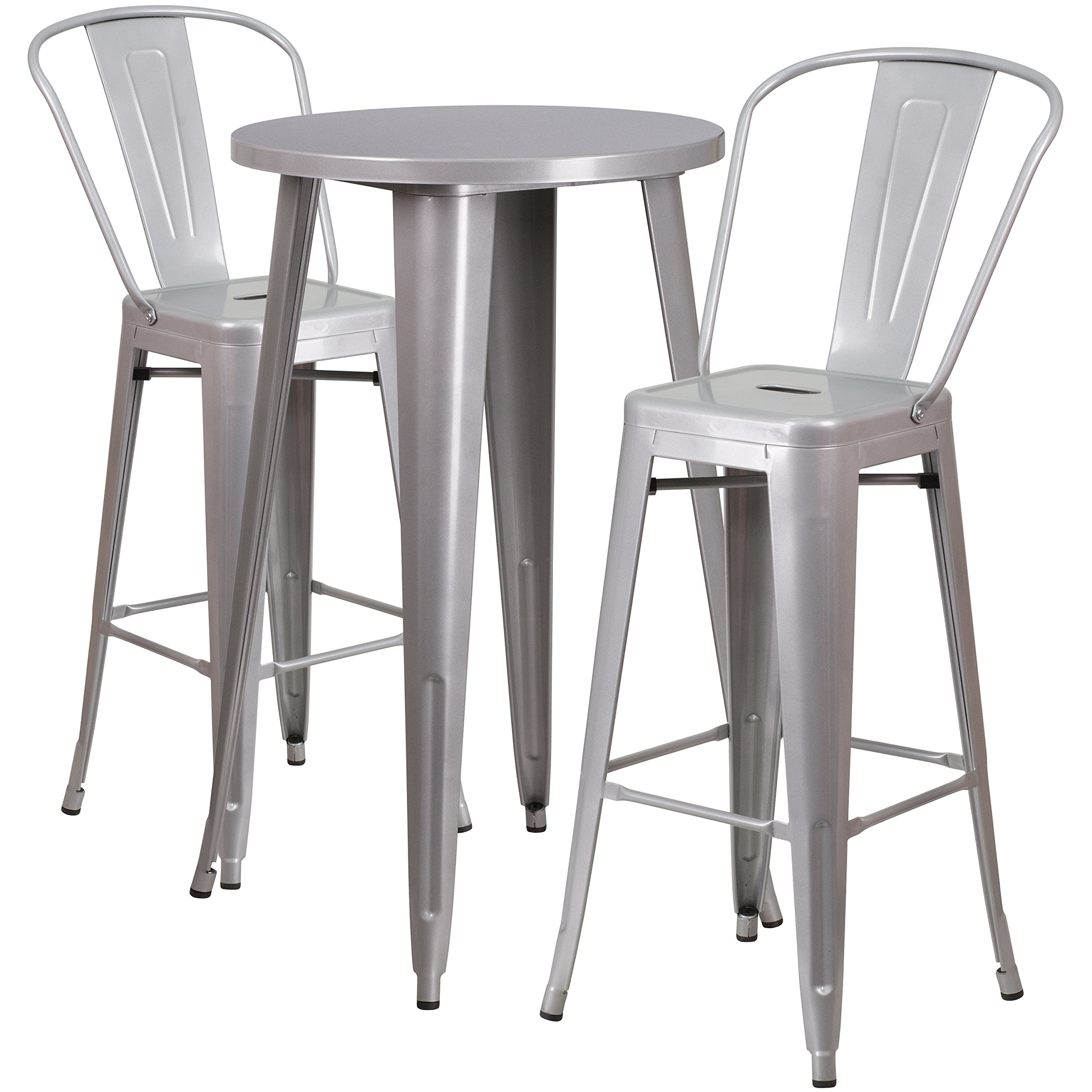 Flash Furniture 24'' Round Silver Metal Indoor-Outdoor Bar Table Set with 2 Cafe Stools