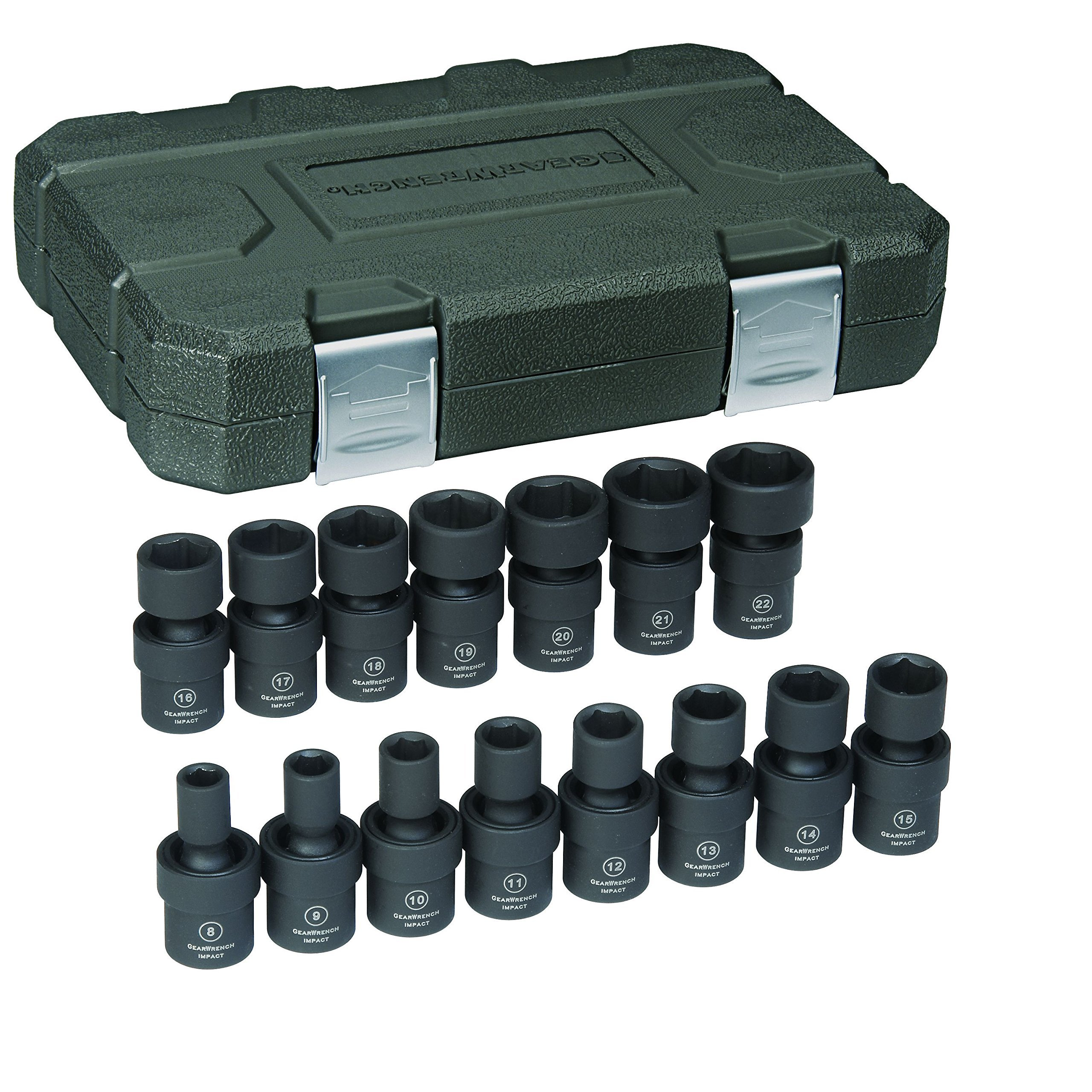 GEARWRENCH 15 Pc. 3/8'' Drive 6 Point Standard Universal Impact Metric Socket Set - 84918N by GearWrench