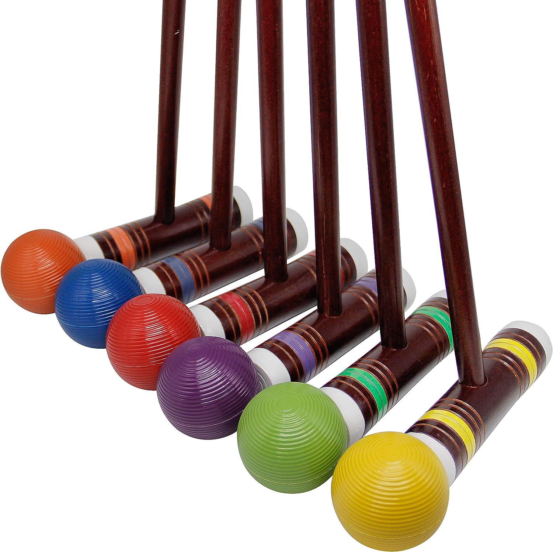 6 Player Vintage Croquet Set Wooden Mallet Outdoor Sports Backyard Lawn Games
