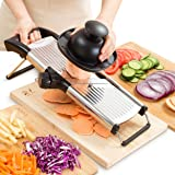 Mandoline Slicer - Vegetable, Potato, Tomato & Onion Cutter Mandolin - Best Kitchen Accessories for Fruits & Vegetables - Stay Safe with New Hand Holder - Easily Adjustable