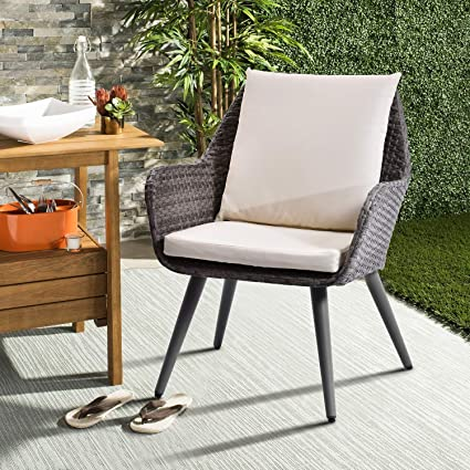 Lz Leisure Zone Patio Pe Rattan Chair Outdoor Wicker Dining Chairs Accent Furniture Chair Sets With Beige Cushion For Patio Garden Cafe Restaurant