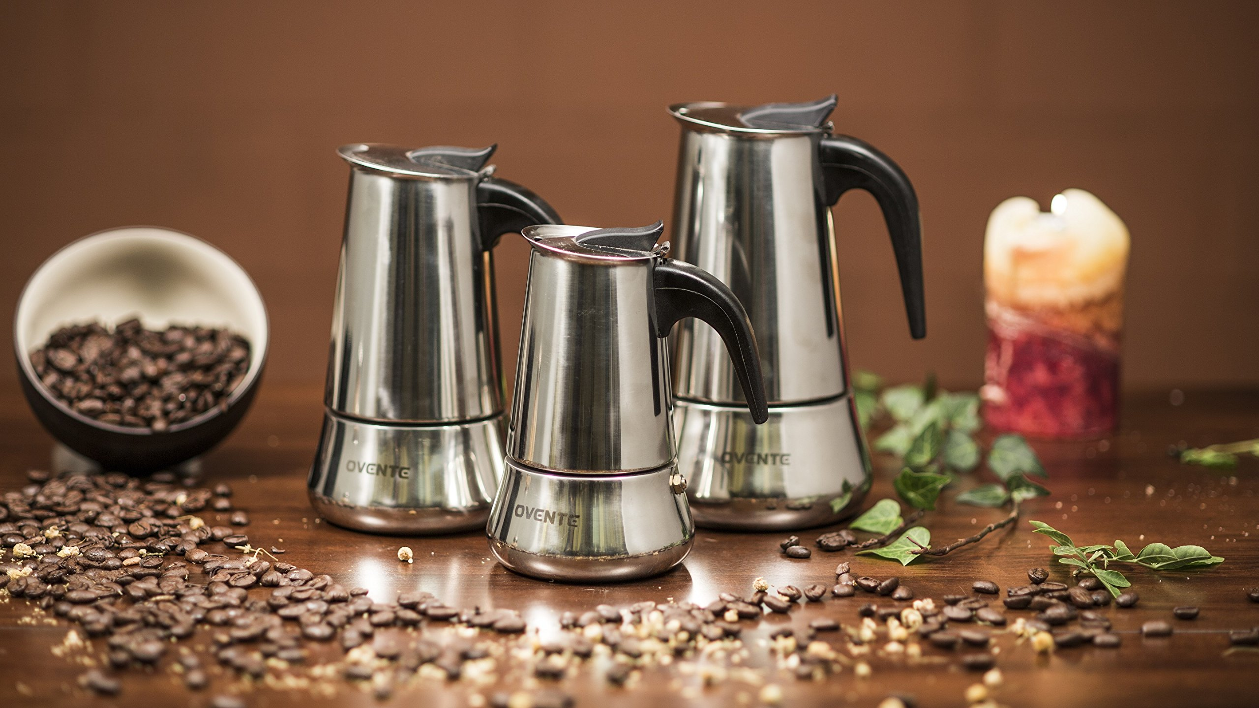 Ovente MPE09 9-Cup Stovetop Stainless Steel Espresso Maker