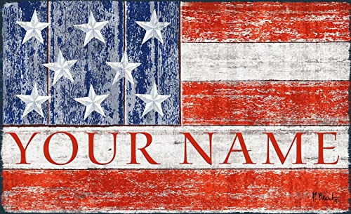Toland Patriotic America USA Flag Your Name Personalized Custom Standard Mat 18 x 30