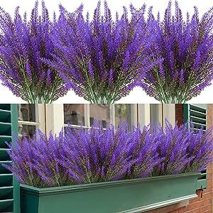 Artificial Lavender Flowers 12 Bundles Outdoor UV Resistant Fake Flowers No Fade Faux Plastic Plants Garden Porch Window Box Decorating (Purple)