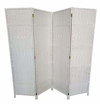 Amazon.com - Urnporium Woven 4 Panel Room Divider with Solid Wood ...