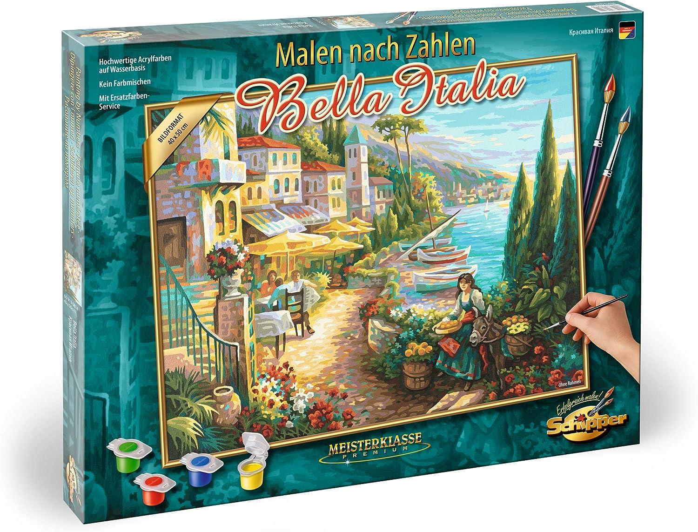 Schipper- MNZ 609130814 Bella Italia-Cuadro para Colorear por números (40 x 50 cm, Incluye Pincel y Pinturas acrílicas), Color 1. (Noris Spiele