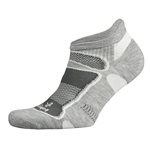 Balega Ultralight No Show Athletic Running Socks for Men and Women (1 Pair), Grey/White, Medium