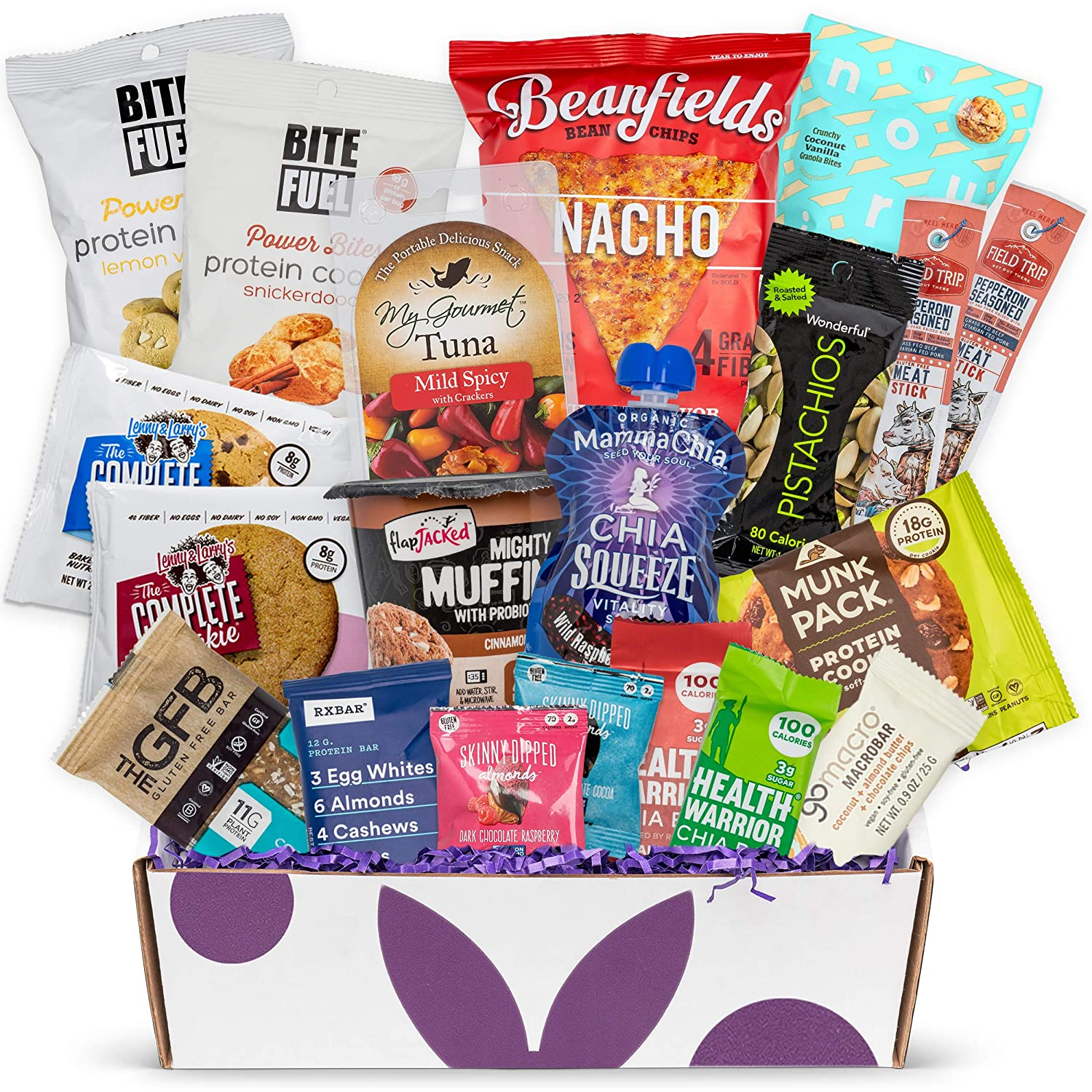 High Protein Fitness Healthy Snack Box: Premium Mix of Healthy Gourmet Protein Snacks On The Go Meal Replacements, Perfect Fitness Care Package Gifts for Military, Athletes Or College Students