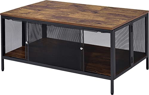 Benjara Metal Coffee Table with 1 Bottom Shelf and Mesh Design, Brown and Gray