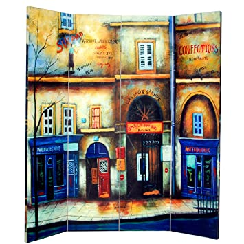 Roundhill Furniture 4 Panel Double Sided Painted Canvas Room Divider Screen Street