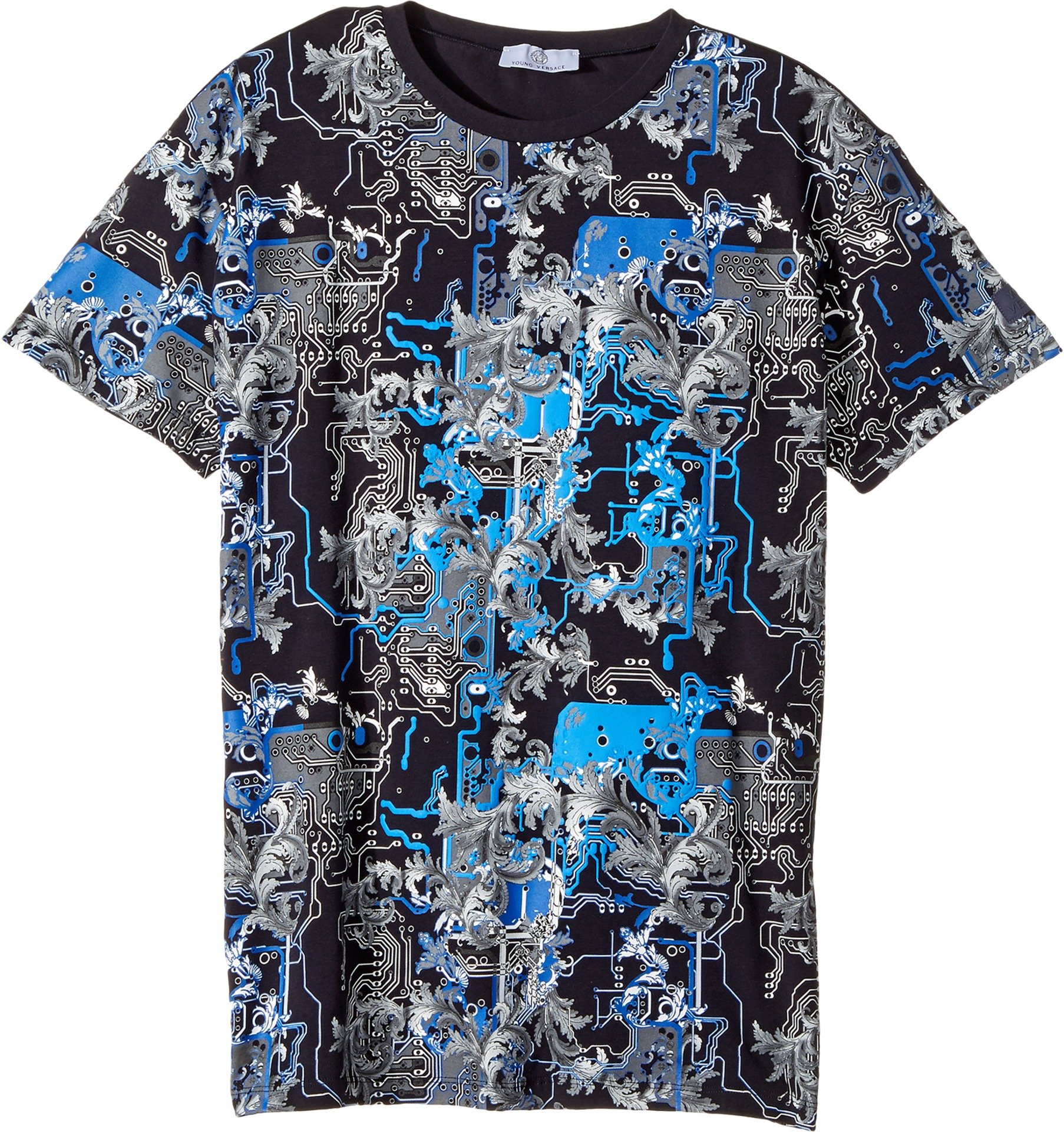 Versace Kids  Boy's Short Sleeve Barocco Circuit Graphic T-Shirt (Big Kids) Blue/Multi 11 - 12