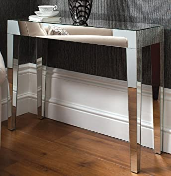 Modern Glam VENETIAN Glass Geo Console Hall Table Mirrored Furniture 102 X  76cm