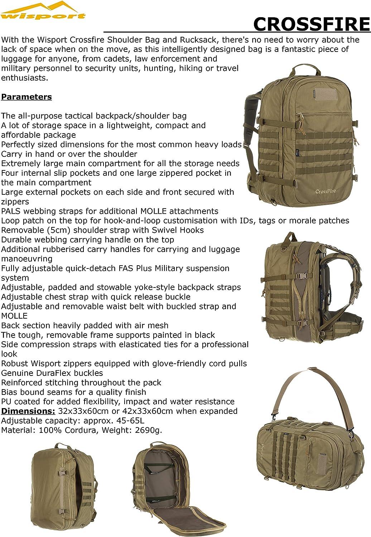 Wisport Hochwertiger Rucksack + Ultrapower Schlauchtuch | Backpack | Outdoor | Survival | Pfadfinder | Reisen | Wandern | 45-65 L | Cordura | Crossfire coyote brown