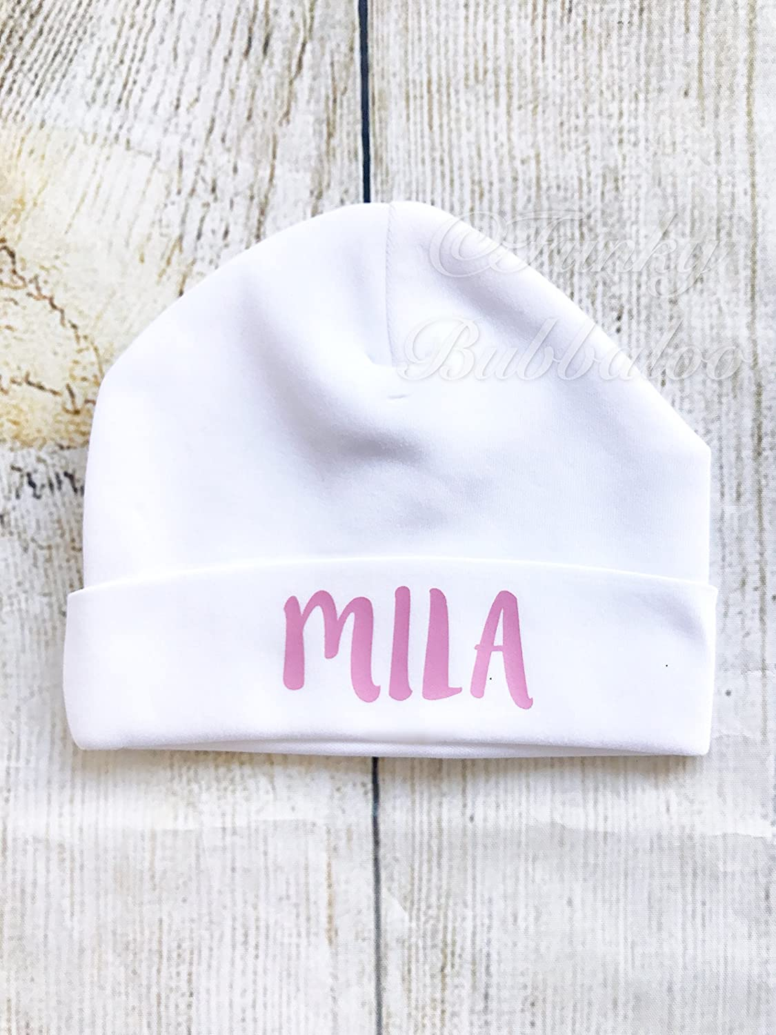 Personalised New Baby Cotton Hats Name Beanie Hat Baby Girl Newborn Pink White Personalized Baby Shower Take Home Photo Prop