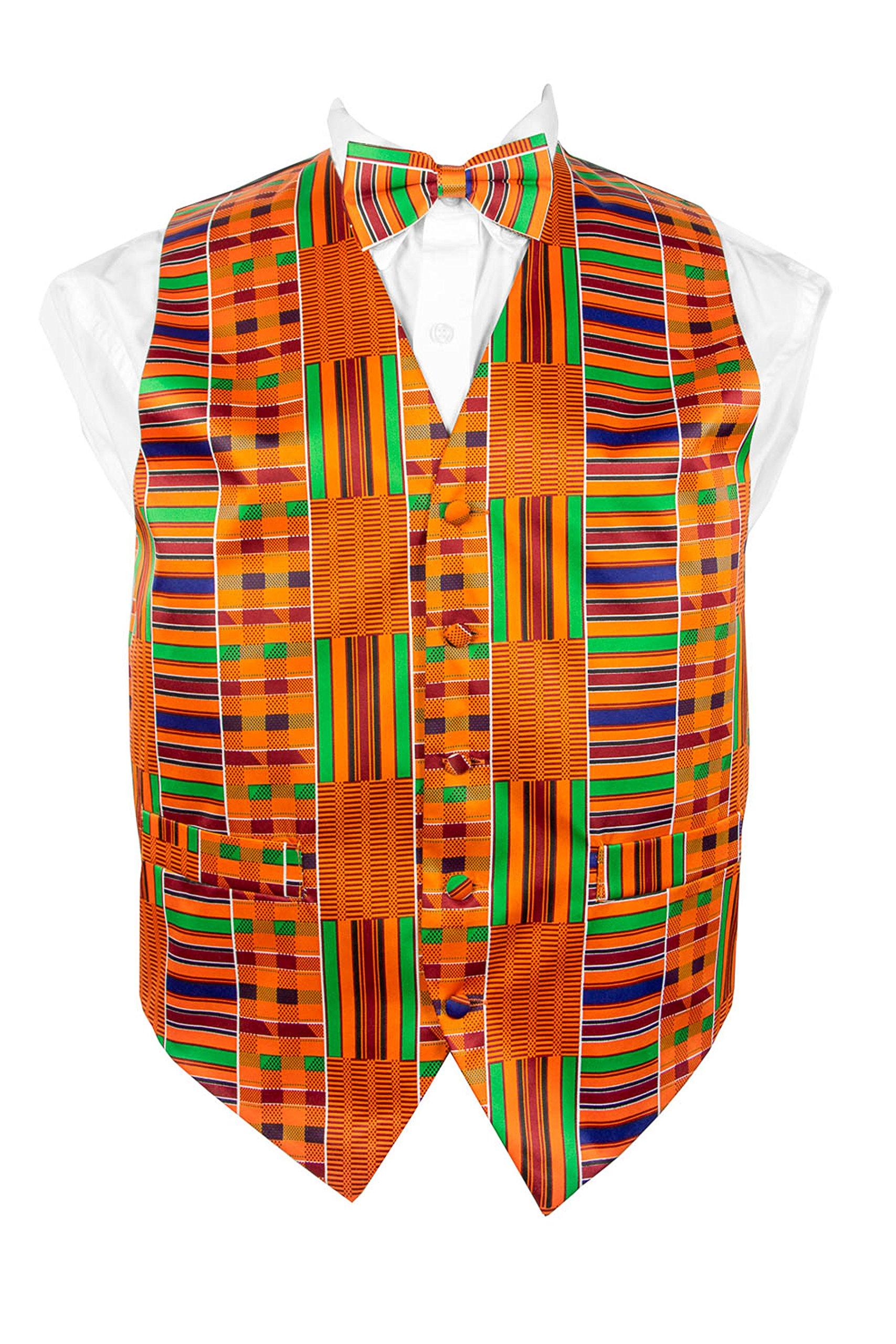African Kente Print, Vest Set by Vittorio Farina