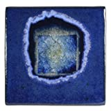 "Dock 6 Pottery 5.5"" Square Trivet with Fused Glass, Blue"
