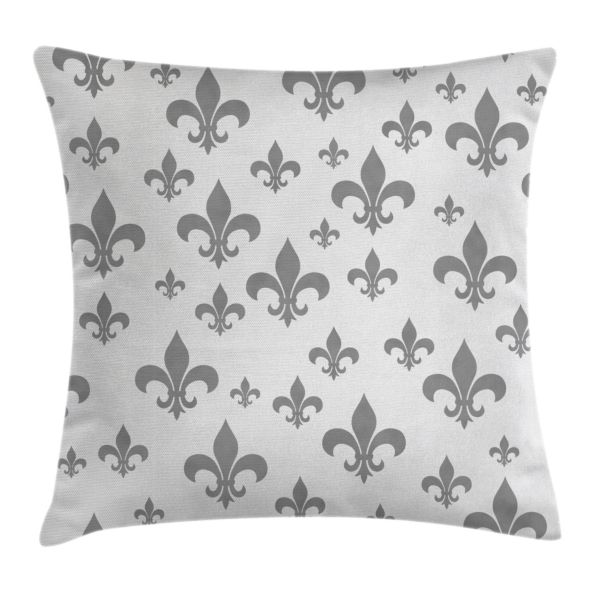 Ambesonne Fleur De Lis Throw Pillow Cushion Cover, Lily Pattern Classic Retro Royal Vintage European Iris Ornamental Artwork, Decorative Square Accent Pillow Case, 16'' X 16'', Grey by Ambesonne