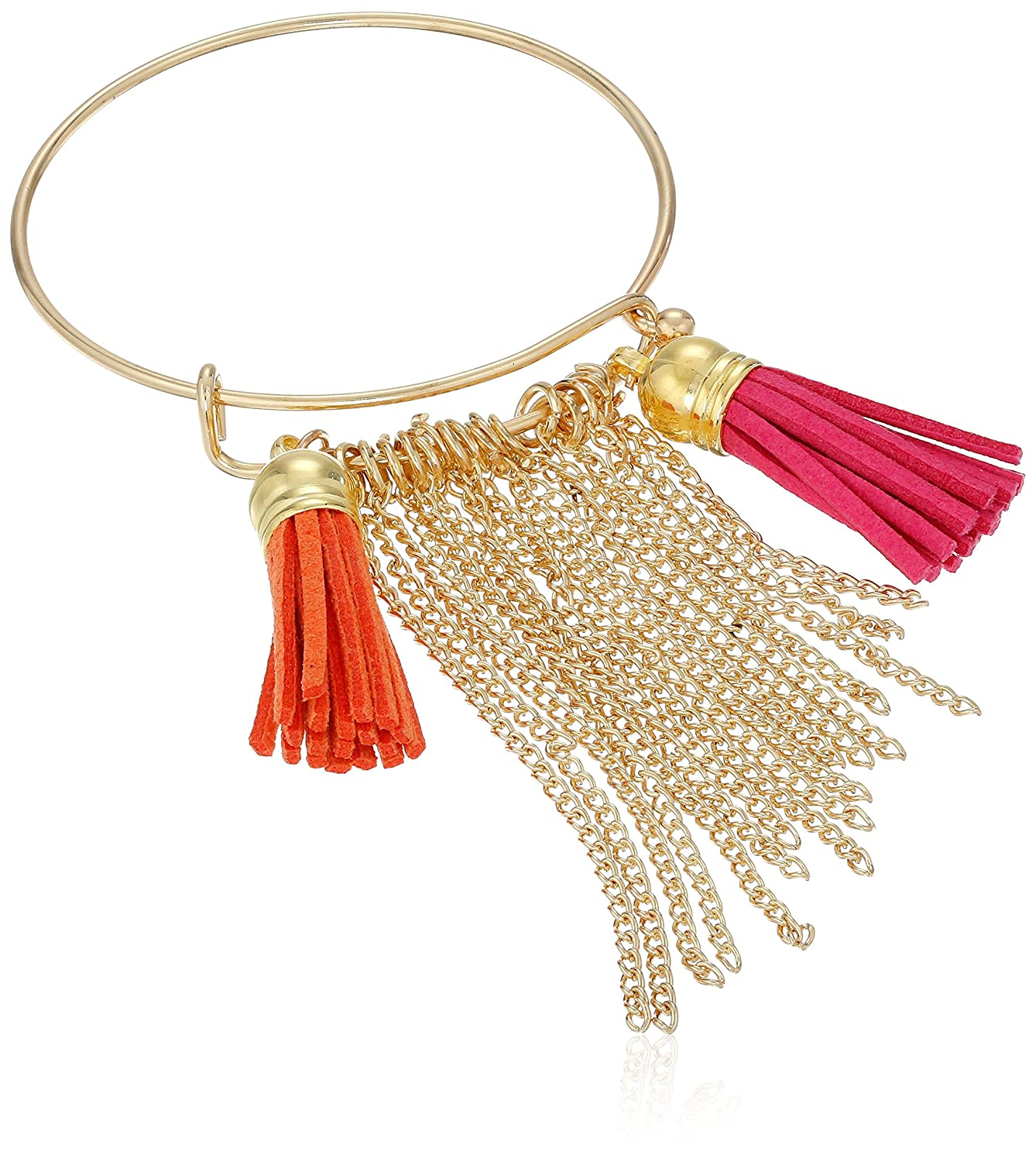 Cara Wire Bangle with Tassels Orange Charm Bracelet