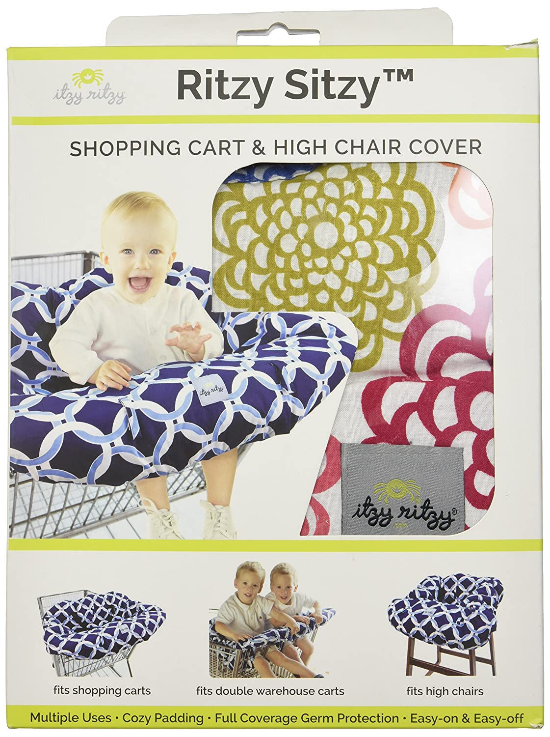 Avocado Damask Itzy Ritzy Shopping Cart and High Chair Cover Featuring Padding Toy Loops For Use in Shopping Carts and High Chairs Pockets and Safety Belts
