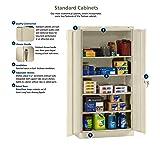 "Tennsco 7218 24 Gauge Steel Standard Welded Storage Cabinet, 4 Shelves, 150 lbs Capacity per Shelf, 36"" Width x 72"" Height x 18"" Depth, Putty"