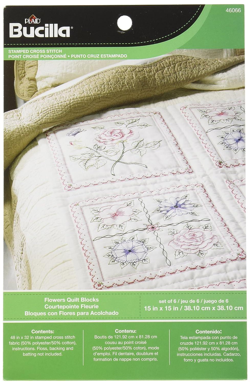 Bucilla Stamped Quilt Blocks, 46066 Floral Plaid Inc dimensions needlecrafts tobin stitchery nostalgic