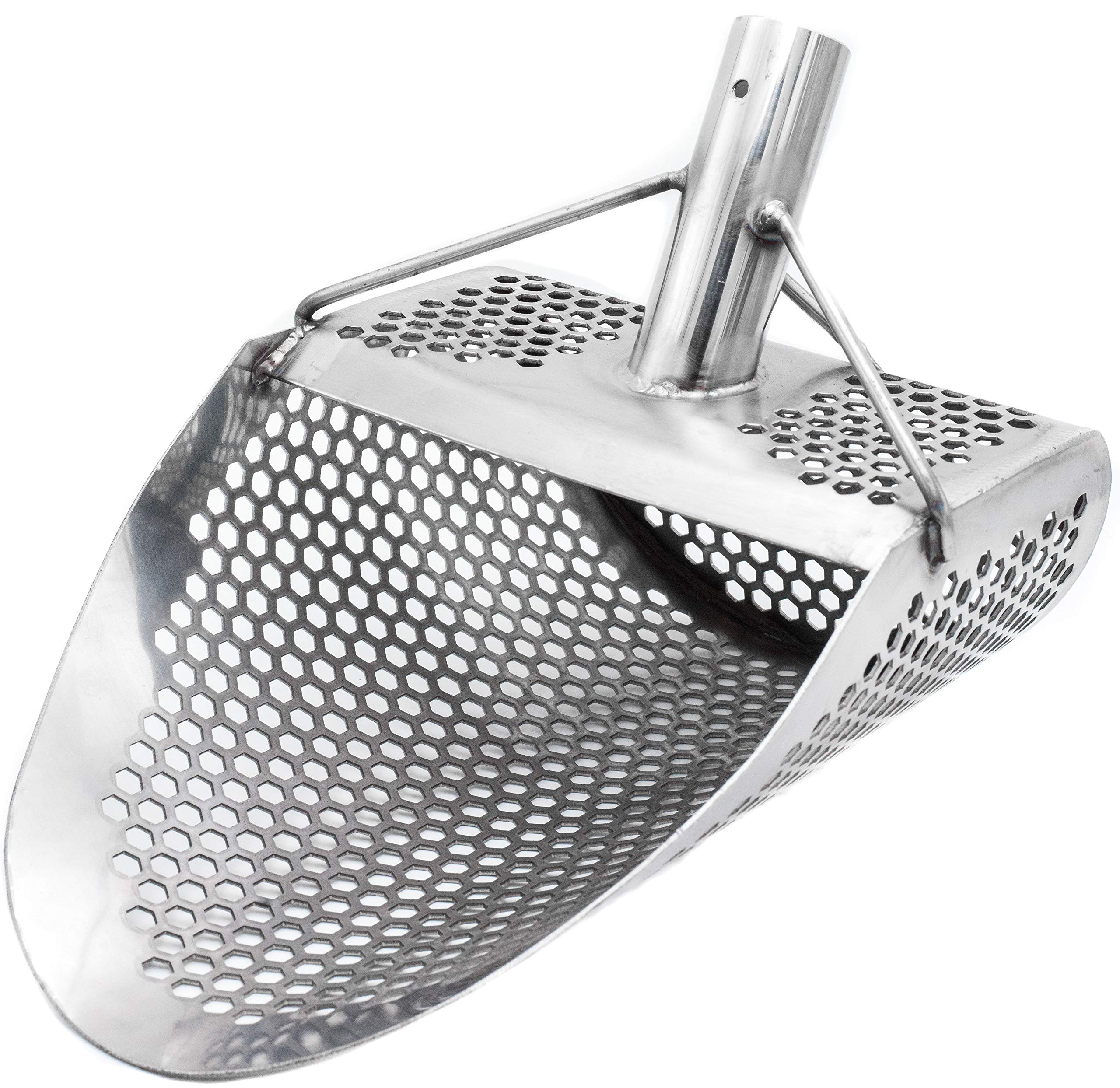 Free2Buy Metal Detecting Sand Scoop 11'' x 8'' Stainless Steel Shovel for Beach Treasure Hunting Designed with 7mm Hexagon Shaped Holes by Free2Buy