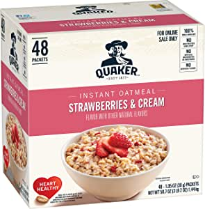 Quaker Instant Oatmeal, Strawberries and Cream, Individual Packets, 48 Count