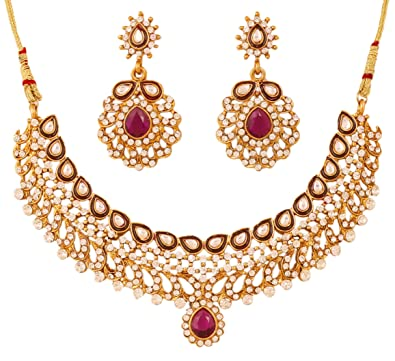 f5216359a Image Unavailable. Image not available for. Color: Touchstone Indian  Bollywood Kundan mina Faux Ruby Diamante Wedding Jewelry ...