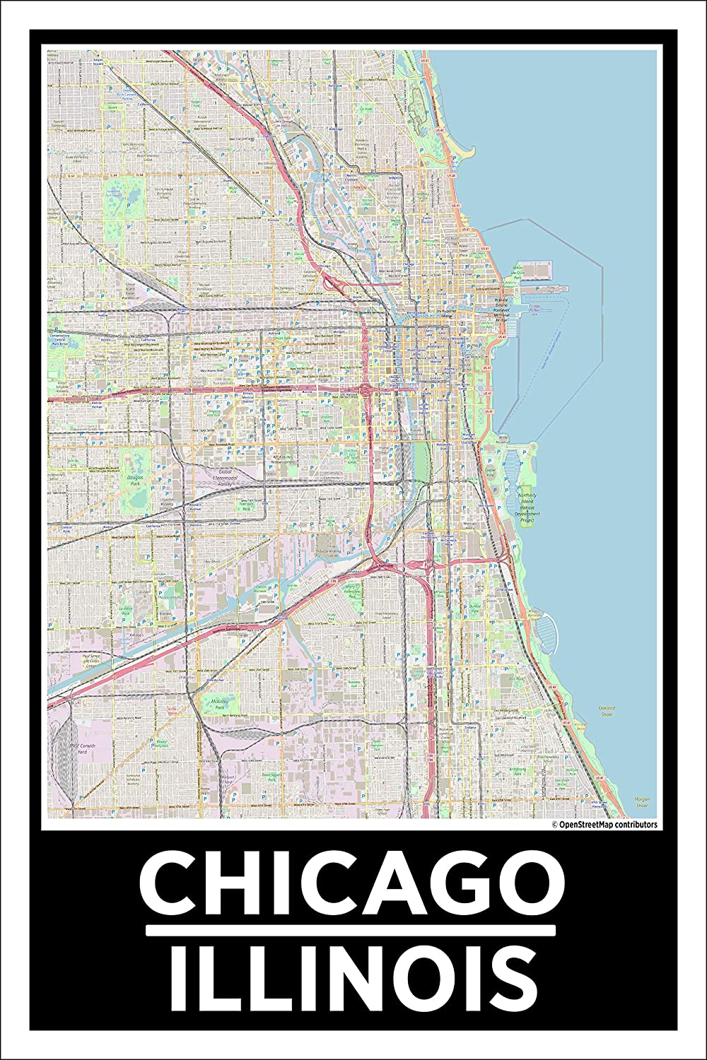 Amazon.com: Spitzy\'s Chicago Illinois 12 by 18 Poster, City Map ...