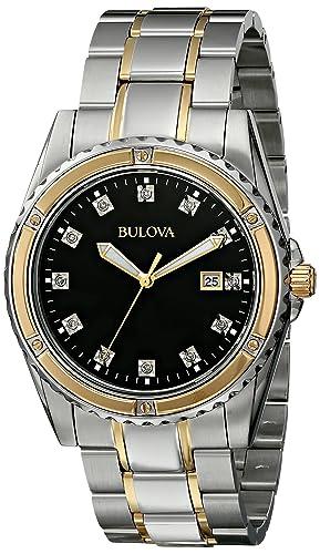 Bulova Men s 98D122 Diamond Analog Display Japanese Quartz Two Tone Watch
