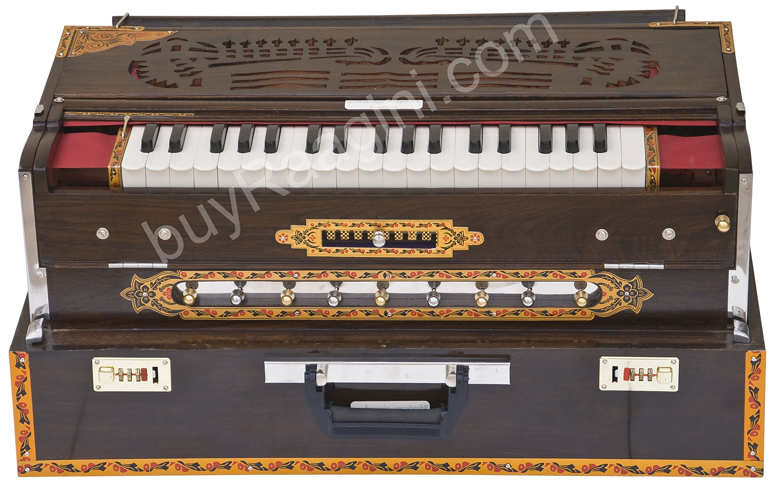 Maharaja Musicals Calcutta Harmonium, Scale Changer, In USA, Concert Quality, Triple Reed, 9 Scales - 3 3/4 Octave, Folding, Coupler, Tuned to A440, Mahogany Color, Padded Bag (PDI-BGH-MMF)