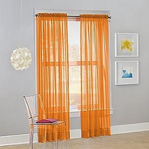 "No. 918 Calypso Sheer Voile Rod Pocket Curtain Panel, 59"" x 84"", Orange, 1 Panel"