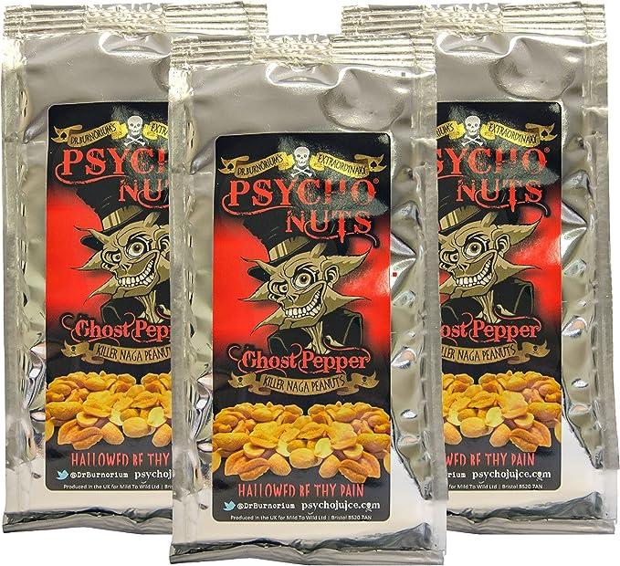 Dr. Burnoriums Psycho Nuts 3 x Paquetes De Cacahuetes (Pimienta De Fantasma) *