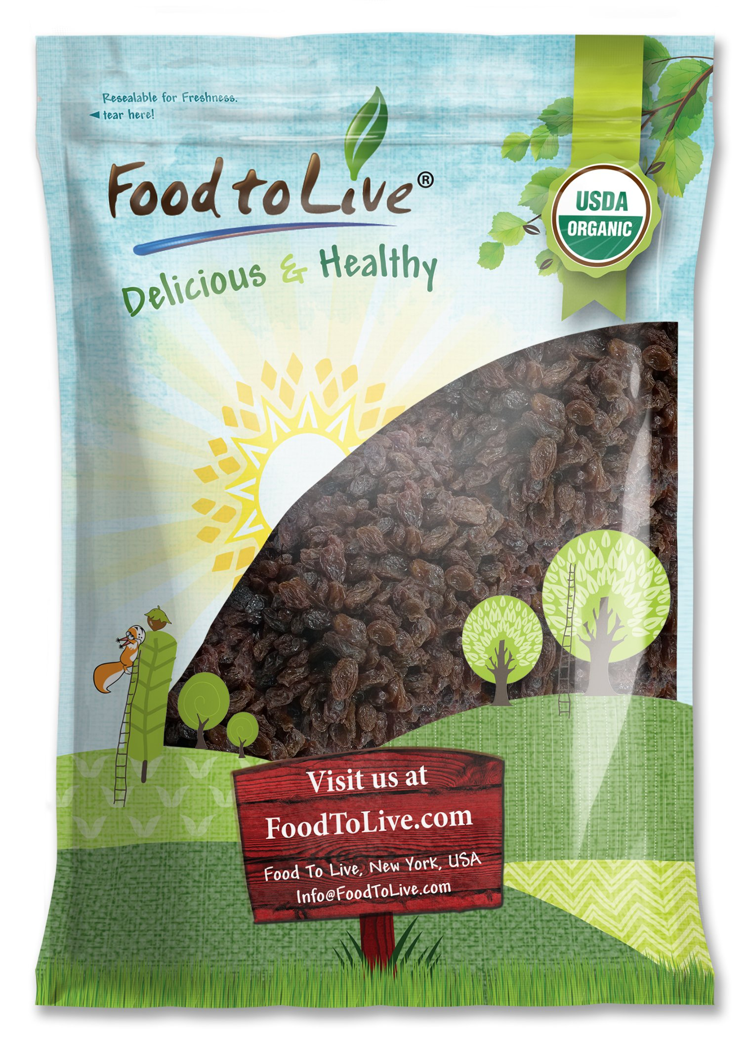 Organic California Thompson Seedless Raisins by Food To Live (Sun-Dried, Non-GMO, Kosher, Unsulphured, Bulk, Lightly Coated with Organic Sunflower Oil) - 8 Pounds by Food To Live