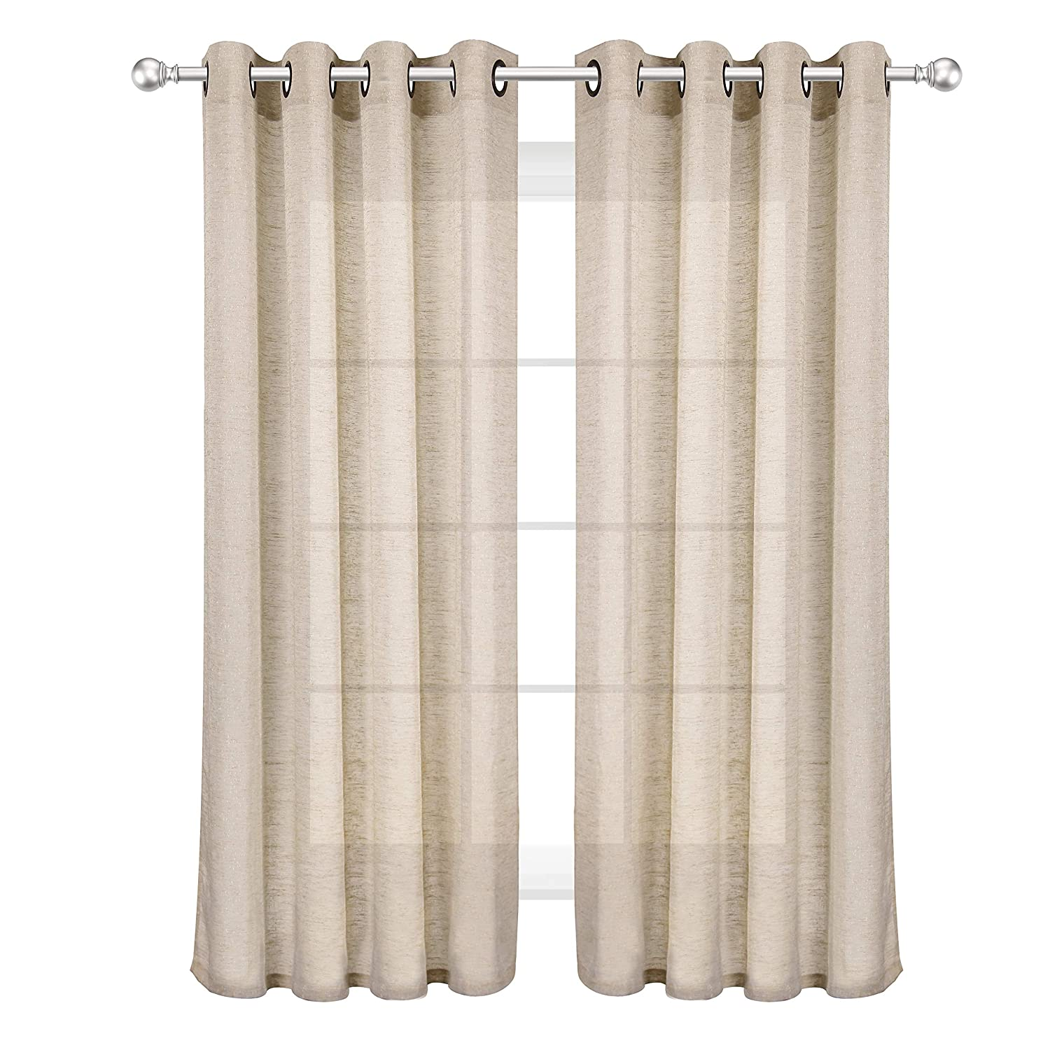 VOILYBIRD Feliz 2 Pack Short Sheer Curtains for Kitchen Window 45 Inch Length Linen Textured Panels for Bathroom Dual Rod Pockets (Natural, W52 x L45, 1 Pair)