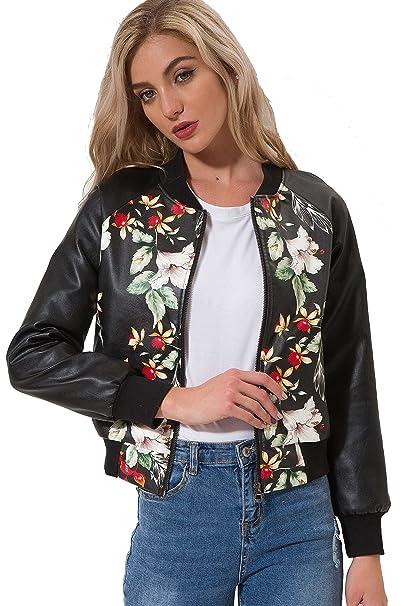 edeefe5a06 VANGULL Girls Zipper Slim Biker Motorcycle PU Leather Jackets Punk Rock  Coats (S