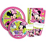 "Ciao Y4383 - Kit Party Tavola Minnie ""Happy Helpers"" per 24 persone 24 piatti carta Ø23cm, 24 piatti carta Ø20cm, 24 bicchieri plastica 200ml, 40 tovaglioli carta 33x33cm)"